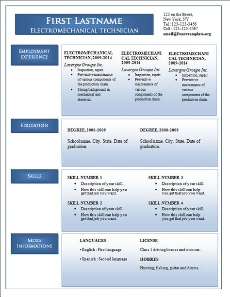 new resume format 2014 free cv word free cv template dot org