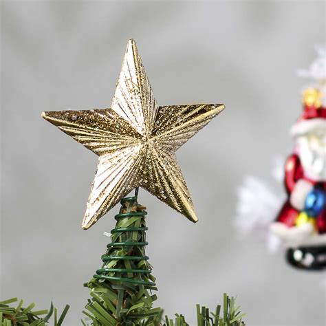 small gold glitter star tree topper christmas trees and