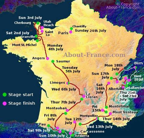 The Tour de France 2016 in English route and map