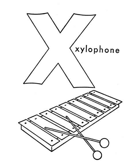 Letter X Coloring Pages Preschool by Abc Alphabet Coloring Sheets X Is For Xylophone