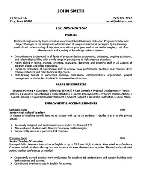 Esl Resume by Esl Instructor Resume Template Premium Resume Sles