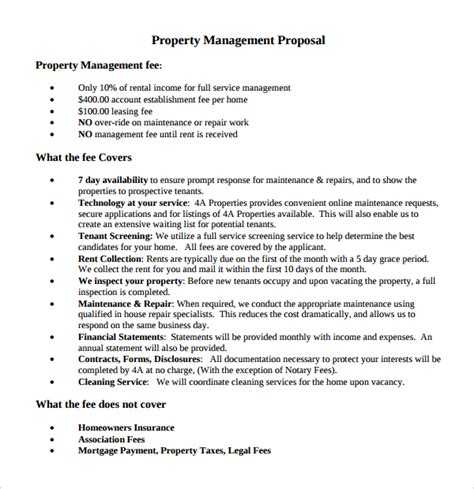 sle property management proposal template 9 free