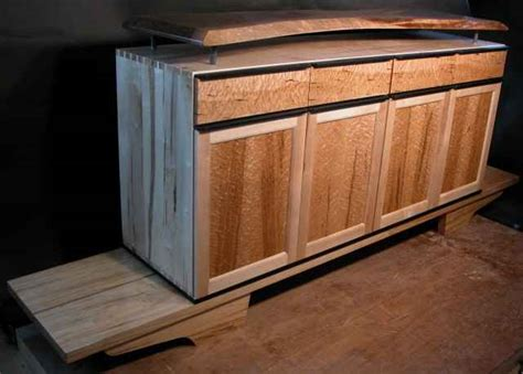 Handcrafted Cabinets - custom wood audio cabinet with walnut slab top by dumond s