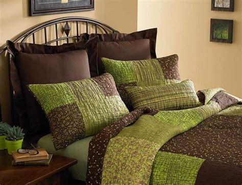 brown and green bedroom bedding color symbolism