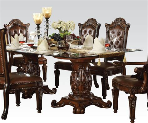 acme vendome 7pc pedestal dining room set with