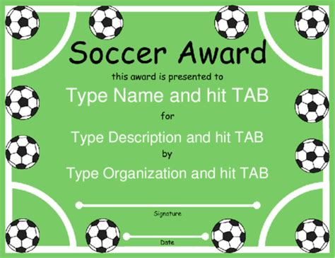 soccer award certificate template free images