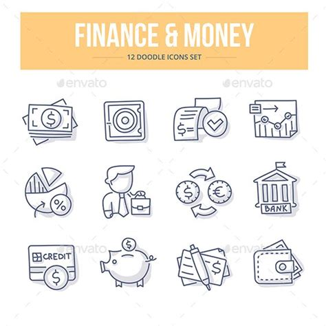 doodle money icons money and business on