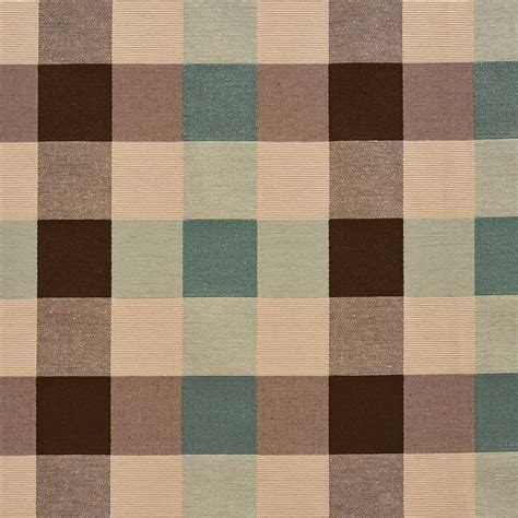 teal and brown upholstery fabric teal cream and brown check silk look upholstery fabric by