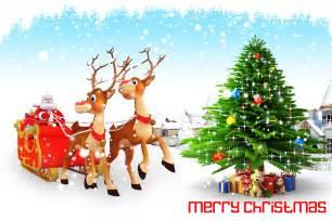 santa claus and christmas tree nice hd wallpaper 04014