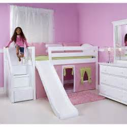 maxtrix delicious playhouse low loft in white w stairs amp slide curve bed ends 325 1s