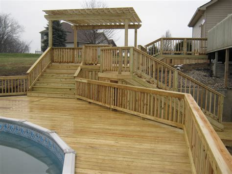 home deck plans columbia city house now connected to pool with new decks archadeck of fort wayne ne indiana