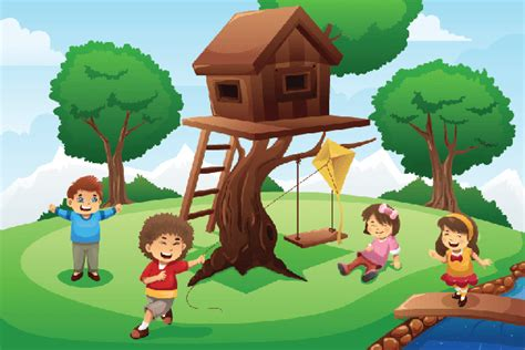tree house clipart kids playing around tree house clipart the arts image pbs learningmedia