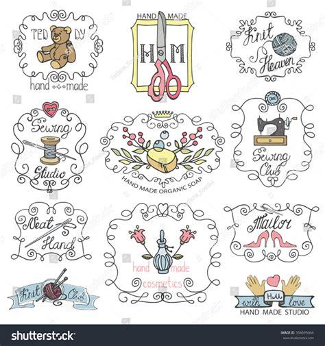 doodle logo handmade logo made needlework doodle logo badges