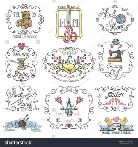 doodle logo design handmade logo made needlework doodle logo badges