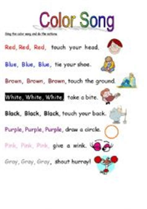 colour song worksheet color song