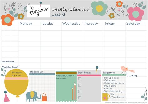 9 best images of cute printable weekly planners 2015 cute weekly planner