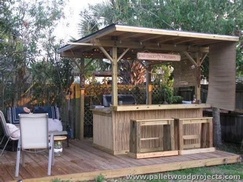 tiki backyard designs recycled pallet tiki bar ideas pallet wood projects