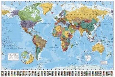 world map with cities poster world map poster map size 24x36 inch print flag