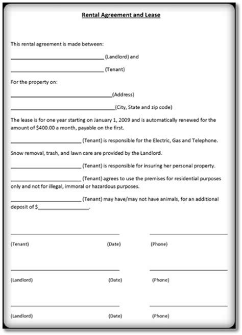 lease agreement template   form format