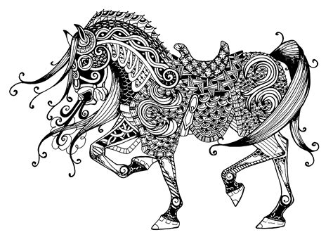 intricate horse coloring pages difficile cheval majestueux animaux coloriages