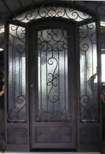 House Doors With Glass Single Custom Frosted Glass Front Doors With Black Iron For Small Home Design Ideas