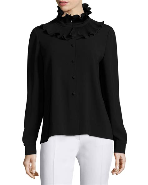 01 Sleeves Neck Hitam lyst co sleeve ruffle neck sweater in black