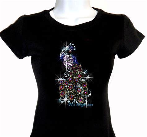 Kaos Blouse Blingbling Import peacock iron on rhinestone t shirt bling fix motif transfer shirt top ebay