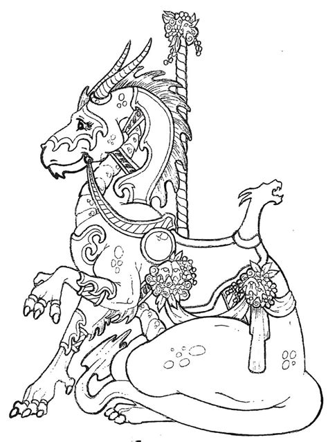 coloring pages of carousel animals carousel dragon stlistic stencils coloring pages
