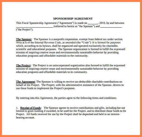 sponsorship agreement 9 non profit sponsorship agreement template purchase