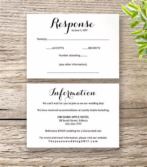 wedding response card template printable wedding invitation rsvp information templates