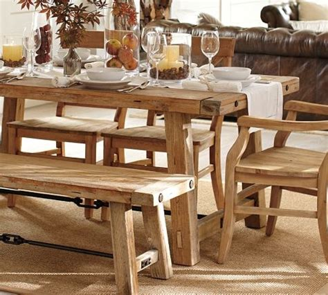 Benchwright Fixed Dining Table Benchwright Reclaimed Wood Fixed Dining Table Wax Pine Finish Pottery Barn It Not The