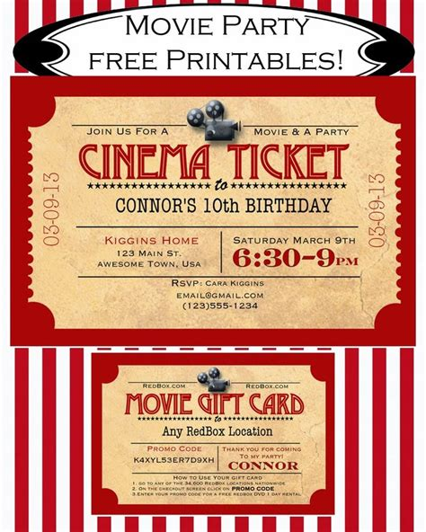 Movie Ticket Gift Cards - 25 best ideas about movie night invitations on pinterest movie party invitations