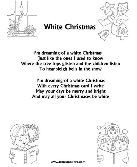 printable version of song lyrics bluebonkers white christmas free printable christmas
