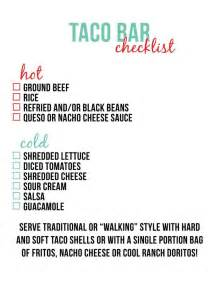 Toppings For Baked Potatoes Bars Taco Bar Checklist Little Baby Seed Taco Night