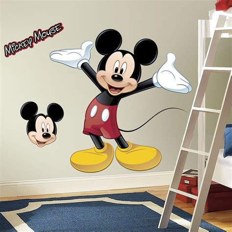 mickey mouse wall stickers roommates rmk1508gm mickey mouse peel and stick wall decal home improvement