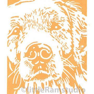 Golden Retriever Dog   Original Hand Pulled Lin    Folksy