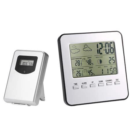 Digital Multifunction Thermometer And Hygrometer With Clock Alarm Jp9906 multi purpose digital thermometer hygrometer wireless weather station clock lcd indoor outdoor