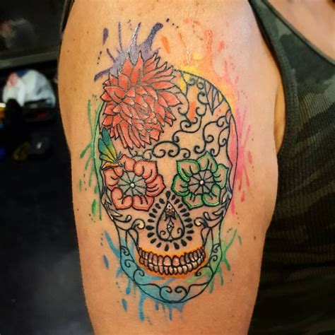 watercolor sugar skull tattoo 40 watercolor designs ideas design trends