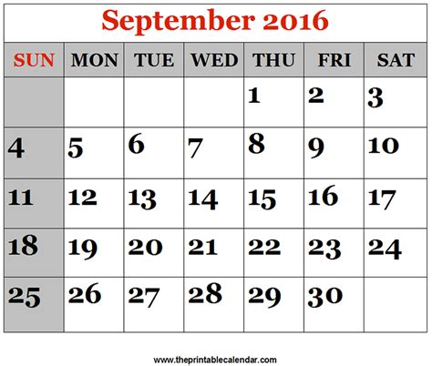 2016 printable monthly calendar september september 2016 printable calendars