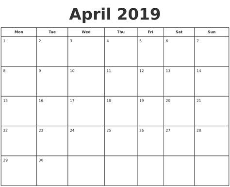 printable calendar starting monday april 2019 print a calendar