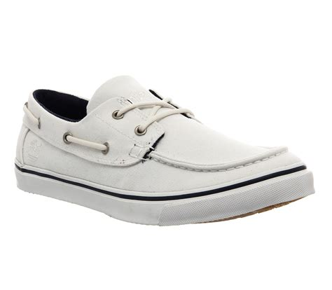 timberland hookset boat shoe mens white canvas mens 2017