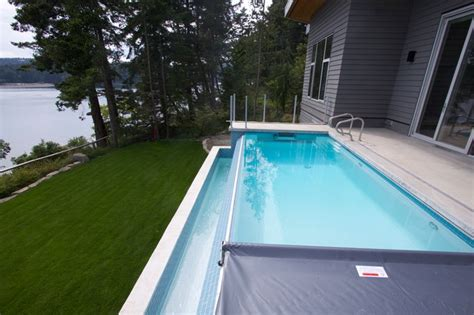 pender island infinity edge pool with fastlane swimspa contemporary pool vancouver by
