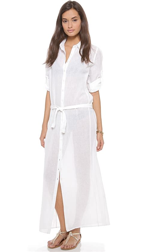 dress cover up thayer shirt dress cover up white gauze in white white