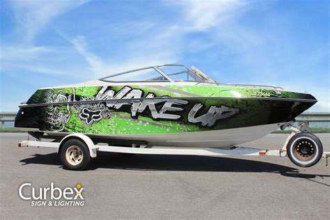 speed boat vinyl wrap custom boat wrap graphics vinyl decals wakeup ski boat