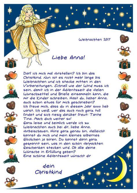 Vom Weihnachtsmann Briefvorlage ein brief vom christkind