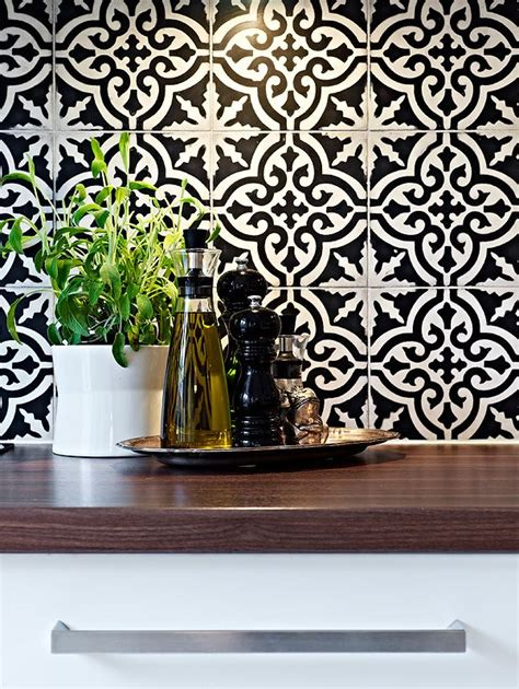 patterned backsplash tiles black and white tiles handmade tiles can be colour