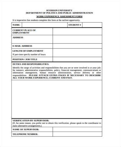 work experience risk assessment template sle work assessment forms 8 free documents in word pdf