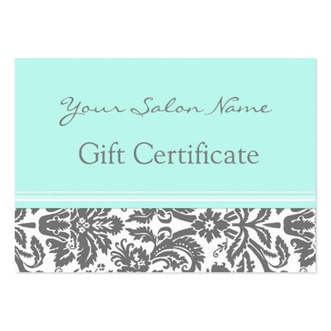 how to make gift cards for business salon gift certificate aqua grey damask large business