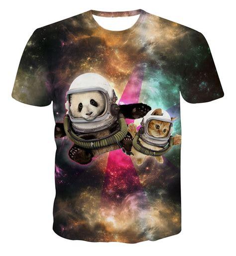 harajuku space cat cat explosion t shirt astronaut