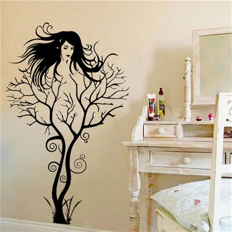 sexy home decor new creative sexy girl tree wall stickers home decor